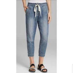 Free People Blue Easy Chambray Harem Jogger Pants